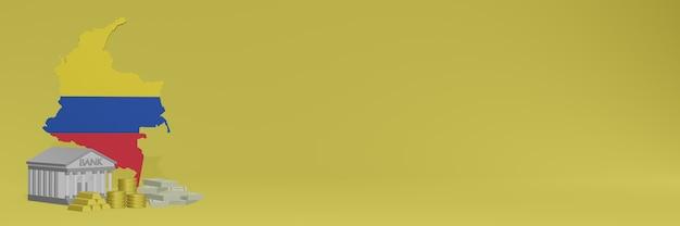 Bank ze złotymi monetami w kolumbii dla mediów społecznościowych i okładek tła strony internetowej może służyć do wyświetlania danych lub infografik w renderowaniu 3d.