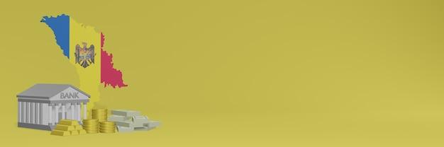 Bank ze złotymi monetami w mołdawii do wyświetlania w tle mediów społecznościowych i witryn internetowych może służyć do wyświetlania danych lub infografik w renderowaniu 3d.