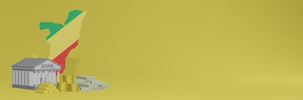 Bank ze złotymi monetami w republice konga dla mediów społecznościowych i okładek tła witryny może służyć do wyświetlania danych lub infografik w renderowaniu 3d.