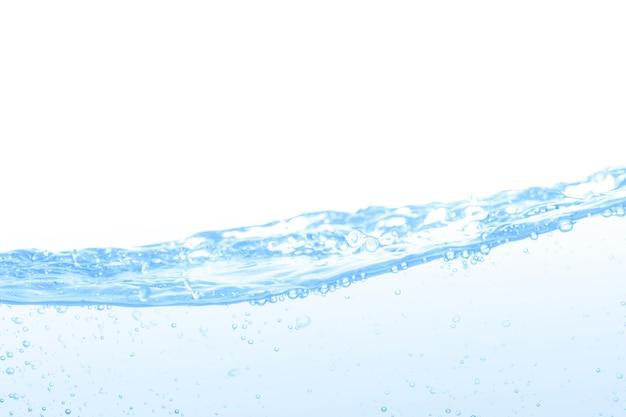 Bańka wody na białym tle z miejsca na kopię.