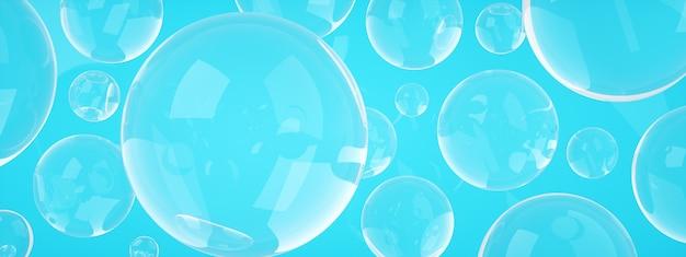 Bańki mydlane na niebieskim tle, renderowanie 3d, obraz panoramiczny