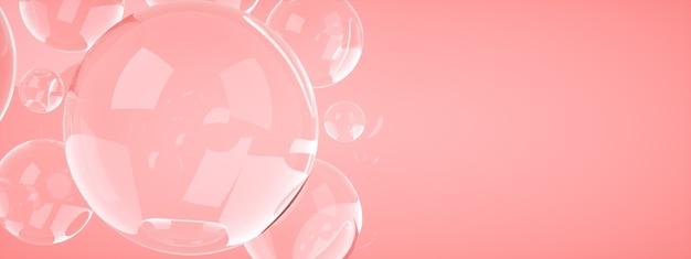 Bańki mydlane na różowym tle, renderowanie 3d, panoramiczny obraz układu