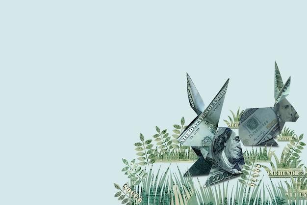 Banknot origami królik na wielkanoc