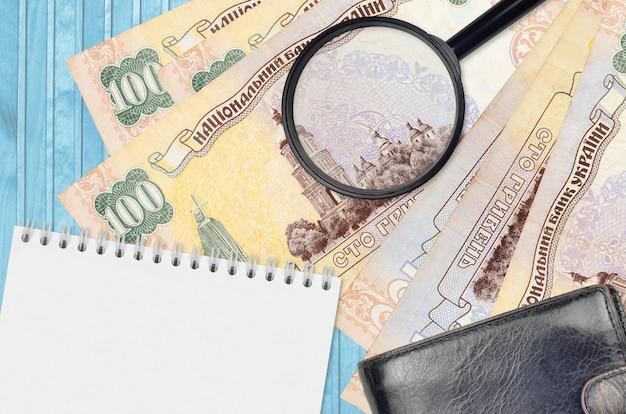 Banknoty 100 hrywn ukraińskich i szkło powiększające, czarna torebka i notes