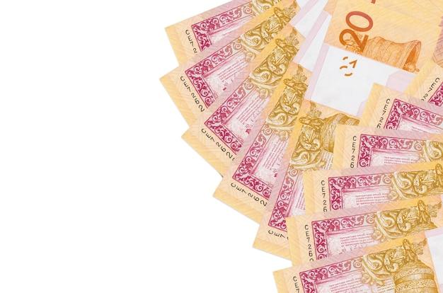 Banknoty 20 rubli białoruskich leżą odizolowane. koncepcyjne tło bogate życie. duża ilość bogactwa w walucie krajowej