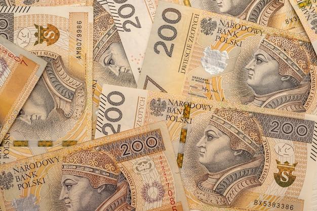 Banknoty 200 zł jako zaplecze biznesowe. koncepcja pieniędzy