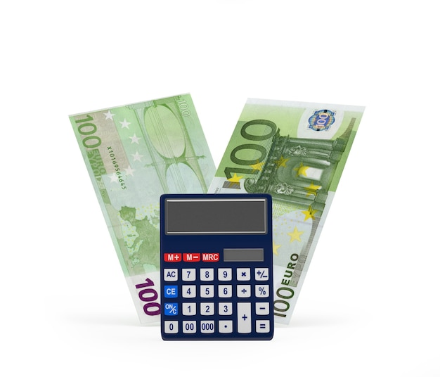 Banknoty euro z kalkulatorem renderowania 3d