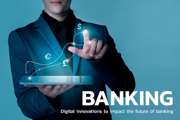 Bankowa technologia finansowa z tłem symboli walut