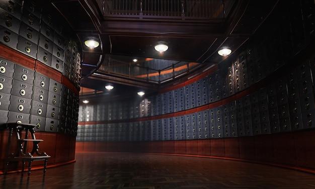 Bankowe sejfy renderowania 3d
