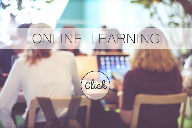 Banner edukacji online na rozmycie stdying ludzi tło, baner internetowy, edukacja, e nauki, koncepcja technologii