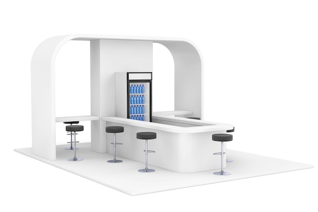 Bar, kawiarnia, kafeteria, fast food inerior koncepcja na białym tle. renderowanie 3d