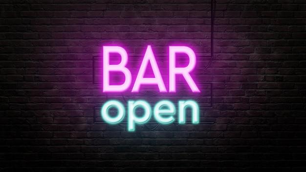 Bar neon znak emblemat w stylu neonowym na tle ściany z cegły