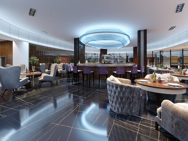 Bar restauracja z ladą w nowoczesnym stylu. renderowanie 3d