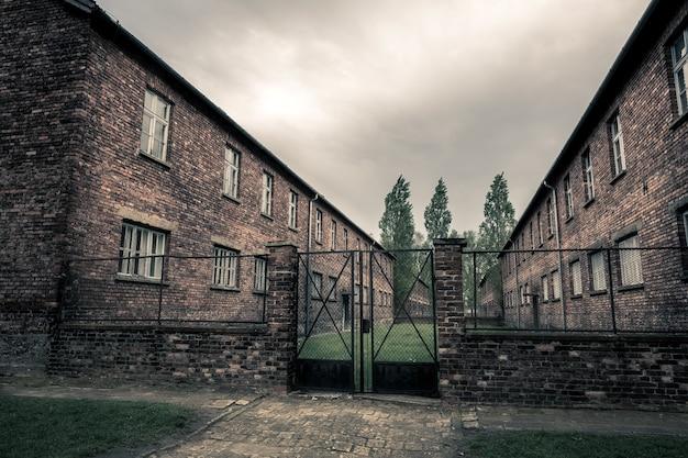 Baraki niemieckiego więzienia auschwitz ii, birkenau, polska.