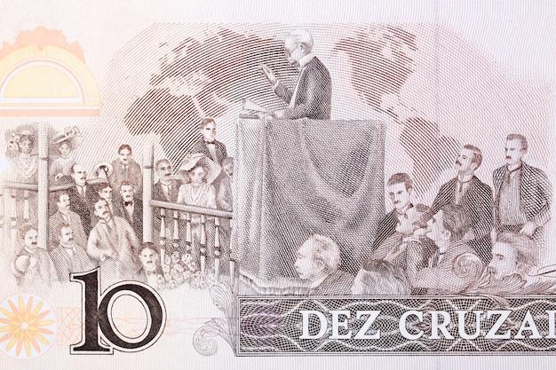 Barbosa mówiący ze starych brazylijskich pieniędzy cruzados