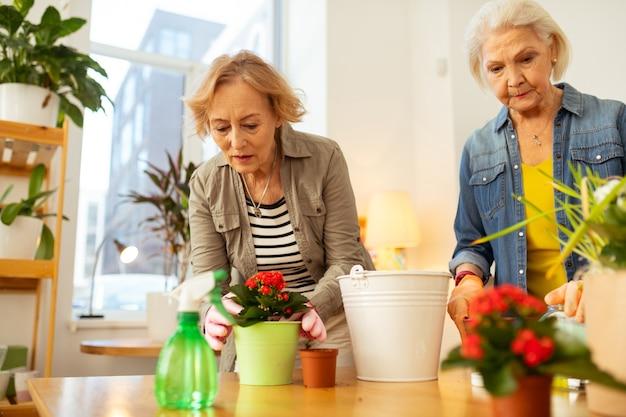 Bardzo ładny. przyjemna starsza kobieta pochyla się do przodu, patrząc na kwiat