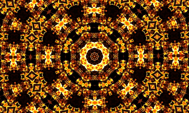 Bardzo piękne obrazy kalejdoskopu do twojego projektu, pomarańczowy wzór kaledoskopu