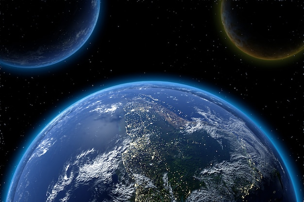 Bardzo szczegółowa planeta ziemska w galaktyce
