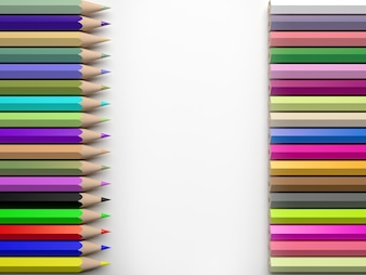 Barwi ołówki odizolowywających na białym tle, 3d rendering