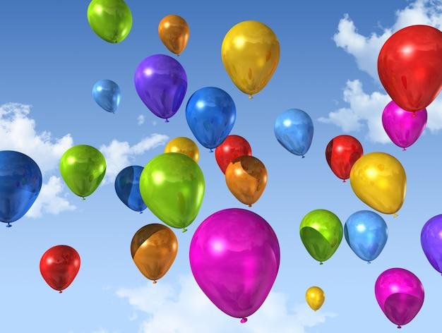 Barwioni balony na niebieskim niebie