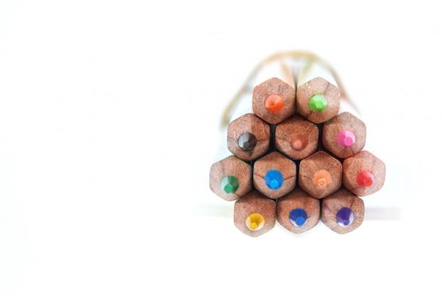 Barwioni ołówki w wiązce zakończenie
