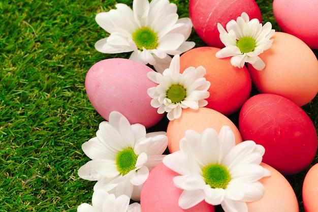 Barwioni wielkanocni jajka na trawie dekorującej z kwiatami