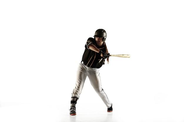 Baseballista, miotacz w czarnym mundurze, ćwiczenia i szkolenia na białym tle na białym tle.