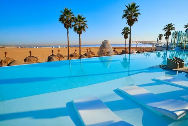 Basen bez krawędzi na plaży z palmami