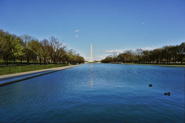Basen między obeliskiem a pomnikiem lincolna w waszyngtonie, usa. popołudnie było słoneczne i niektóre kaczki pływały w wodzie
