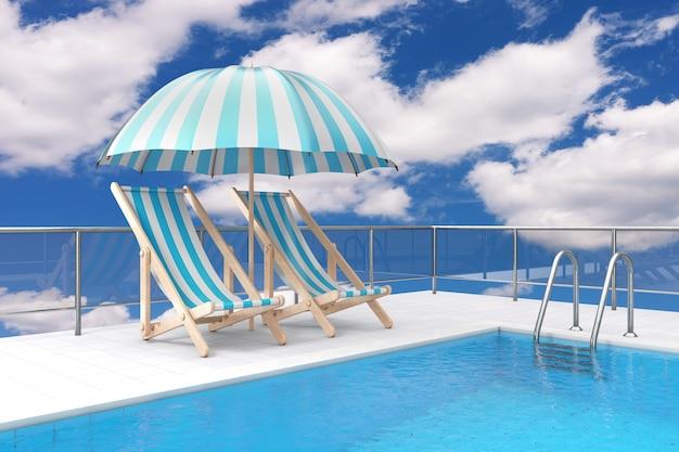 Basen na dachu z chromowaną drabinką basenową i dwoma leżakami relaksacyjnymi na plaży pod osłoną przeciwsłoneczną na tle błękitnego nieba. renderowanie 3d
