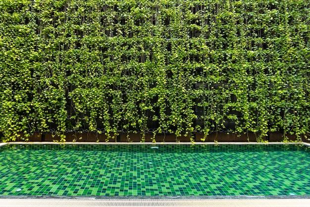 Basen z małym ogrodem. pływanie jest bardzo popularnym sportem w sezonie letnim