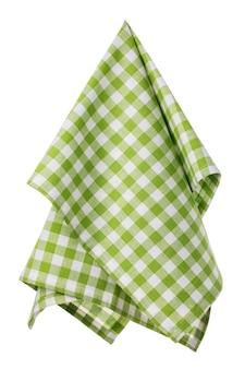 Bawełniana serwetka w kratkę w kolorze zielonym i białym na białym tle
