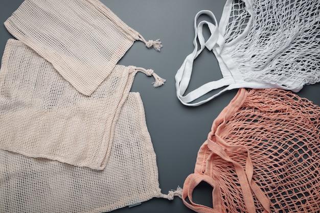 Bawełniane torby ekologiczne. koncepcja zero odpadów