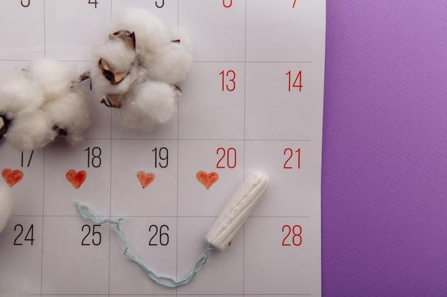 Bawełniany tampon i kalendarz na liliowym tle. ochrona higieny w krytyczne dni dla kobiet.