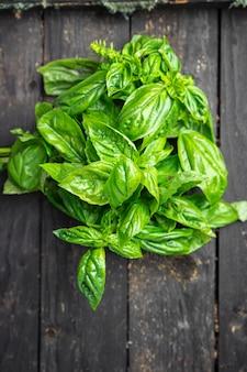 Bazylia świeża soczyste zielone płatki aromatyczna przyprawa surowa świeża porcja gotowa do spożycia przekąska
