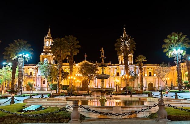 Bazylika katedralna na plaza de armas w arequipa w peru
