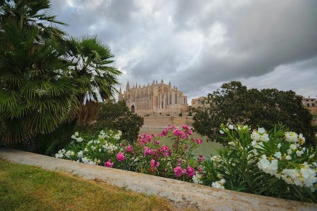 Bazylika katedralna santa maria, widok z parque del mar. palma de mallorca, hiszpania
