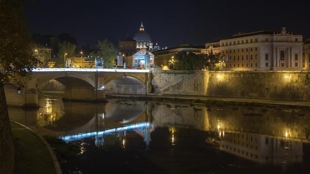 Bazylika świętego piotra, most świętego anioła w piękną noc