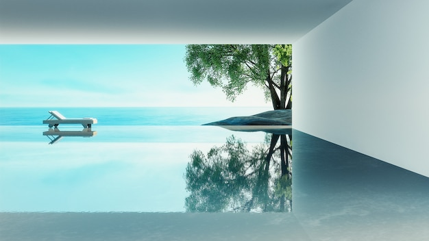 Beach living - ocean villa widok na morze i morze na wakacje i lato / 3d rendering