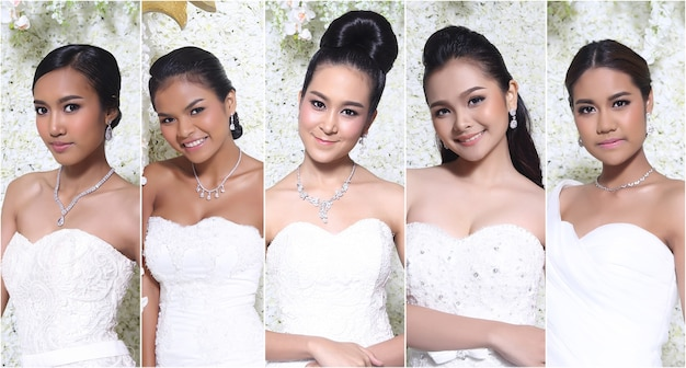 Beauty collage azjatyckich pięciu modeli kobiet w sukni ślubnej dla nowożeńców. oświetlenie studyjne z tłem kwiatowym, żółtą i opaloną skórą, otwartym ramieniem, twarzą do kamery