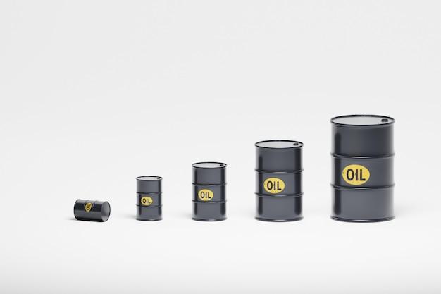 Beczki z ropą różnej wielkości