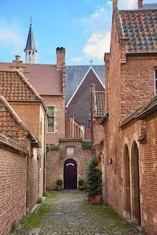 Beginaż z starymi historycznymi domami w śródmieściu w mieście antwerp, belgia