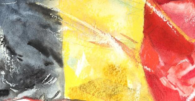 Belgia, flaga belgijska. ręcznie rysowane akwarela ilustracja.