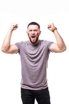 Belgia wygrywa. zwycięstwo, radość i krzyk bramkowy emocje kibica belgii w kibicowaniu reprezentacji belgii na białym tle. koncepcja fanów piłki nożnej.