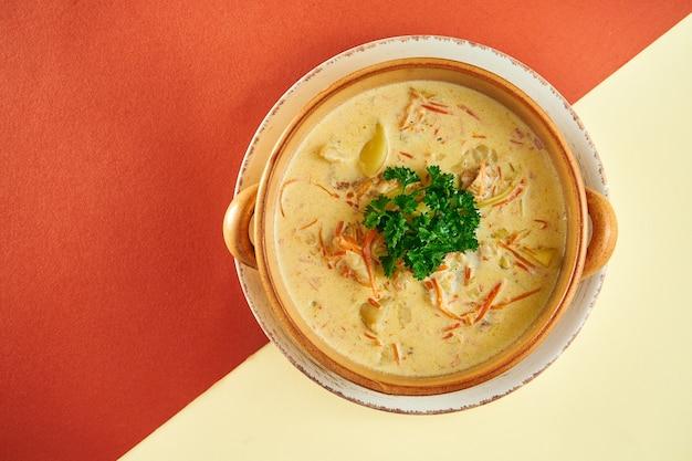 Belgijska zupa rybna z waterzooi w glinianym talerzu na kolorowej powierzchni