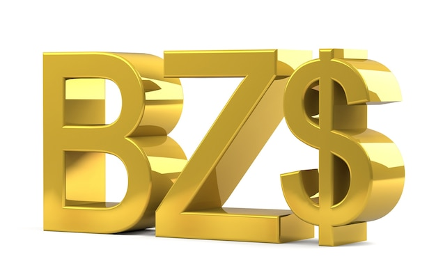 Belize dollar currency sign symbole złoty kolor na białym tle. renderowanie 3d.