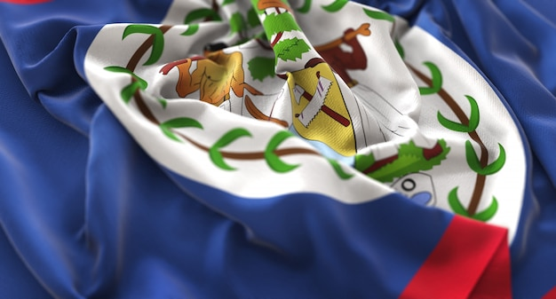 Belize flag ruffled pięknie macha makro close-up shot