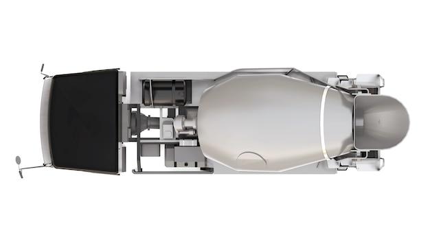 Betoniarka z czarną kabiną i szarym mikserem na białym tle. trójwymiarowa ilustracja sprzętu budowlanego. renderowania 3d.