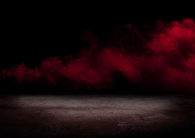 Betonowa podłoga i czerwone tło dymu smoke