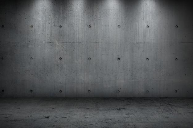 Betonowa ściana buduje ciemnego silnego pokój dla tła